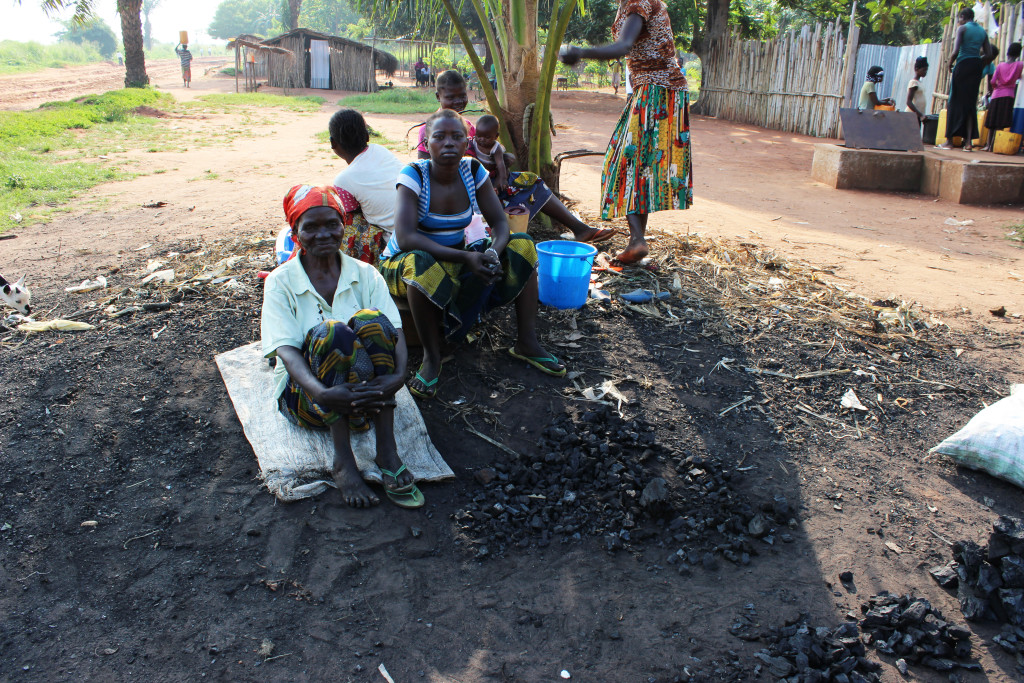 Women sell charcoal by the road in Gemena.