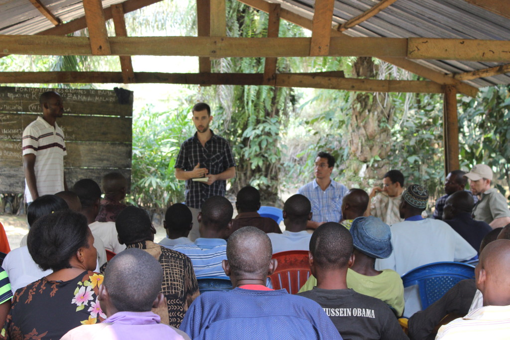 Project Manager Melaine Kermarc talks to villagers from Buya 1 about forest resources and climate change.